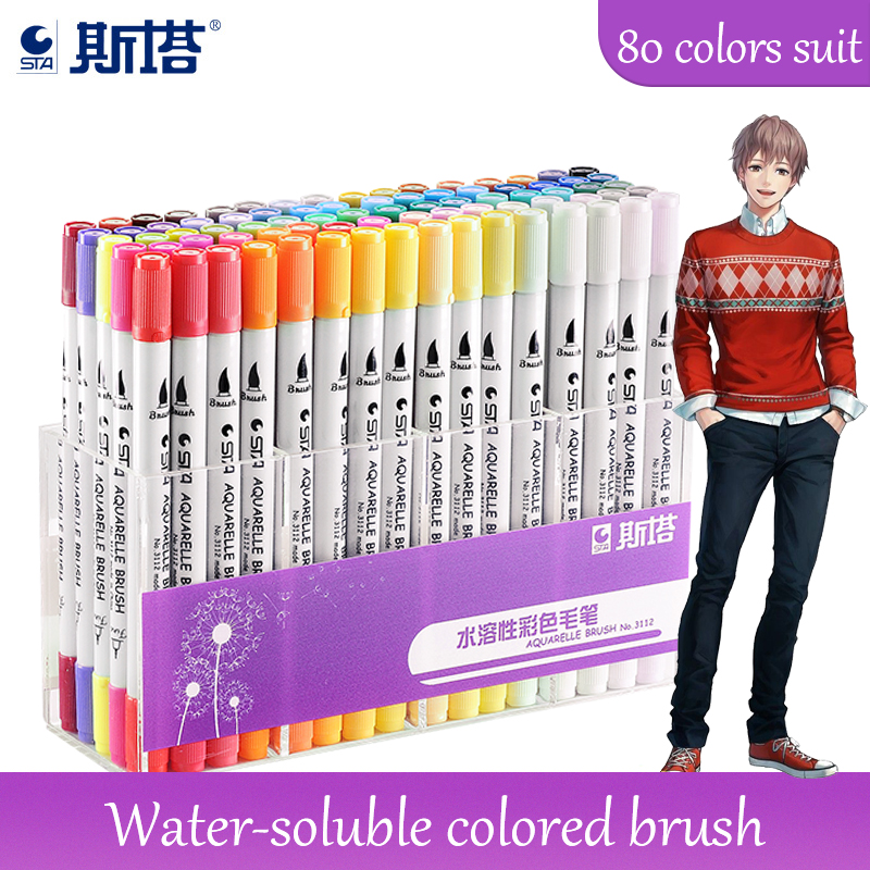 STA 3112 80 Colors Watercolors Brush Pen Double-headed Colored Art Markers Sketch Drawing For Stationery School Supplies sta markers pen new promotions capillary handles for drawing 80 colors artist design markers for drawing double headed mark pens