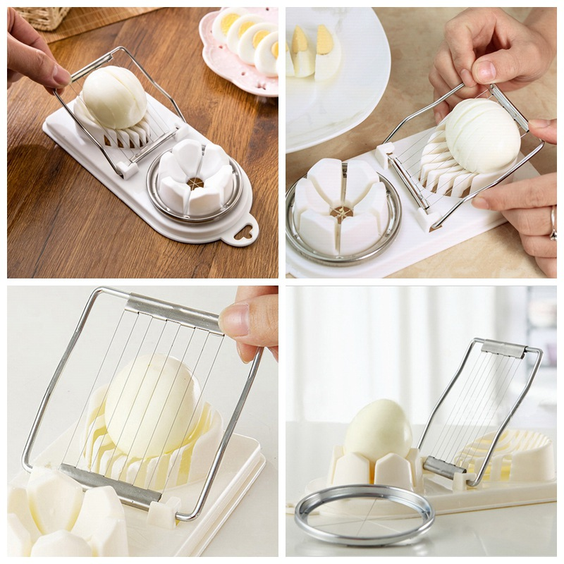 Double Chamber Stainless Steel Wire Boiled Egg Slicer Strawberry Mushroom Cutter Chopper Tools
