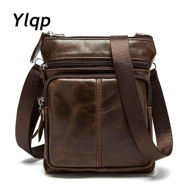 307fbbe52c8d Ylqp мужские сумки на плечо из натуральной кожи мужские маленькие сумки на  плечо 2018 Роскошные Дизайнерские