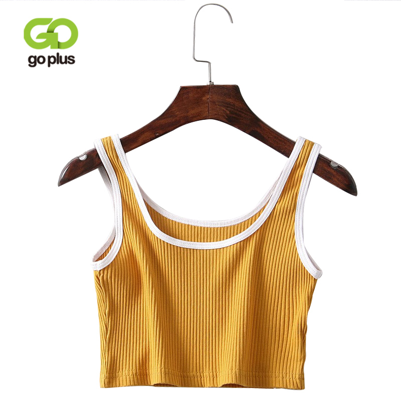GOPLUS 2018 New Summer Sexy Patchwork Tank Top Women Tees Fashion Sleeveless Crop Tops Short Casual Vest femme O-Neck Camisole