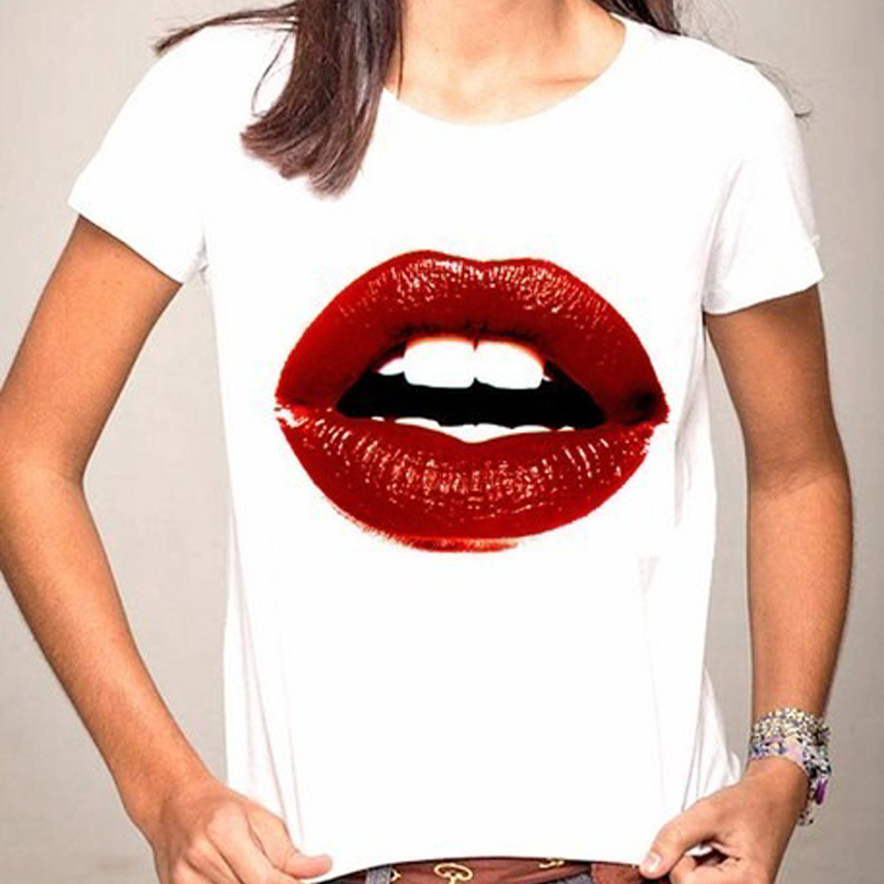 H6 verano estilo mujer t-shirt sexy Labios Tops patrón Tops Loose ...