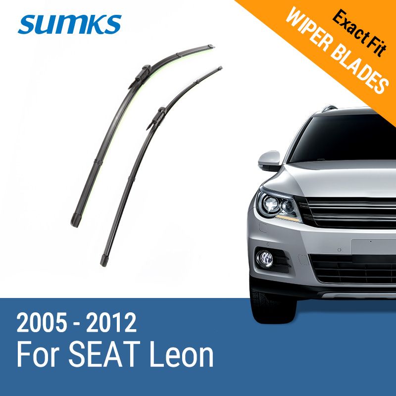 SUMKS Wiper Blades for SEAT Leon 26& 26 Fit pinch tab Arms 2005 2006 20072008 2009 2010 2011 2012