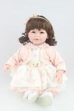 Hermoso diseño de cabello rizos muñeca niño Renacido muñeca de la muchacha dulce bebé festival de muñecas Juguetes de Regalo para los amigos