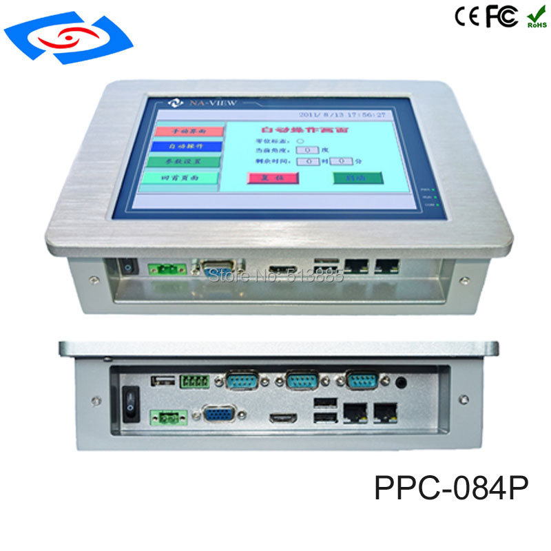 Factory Store Fanless 8.4 Inch Industrial Touch Screen Panel PC With 2x10/100/1000Mbps RJ45 LAN 3xUSB2.0 Resolution 800x600