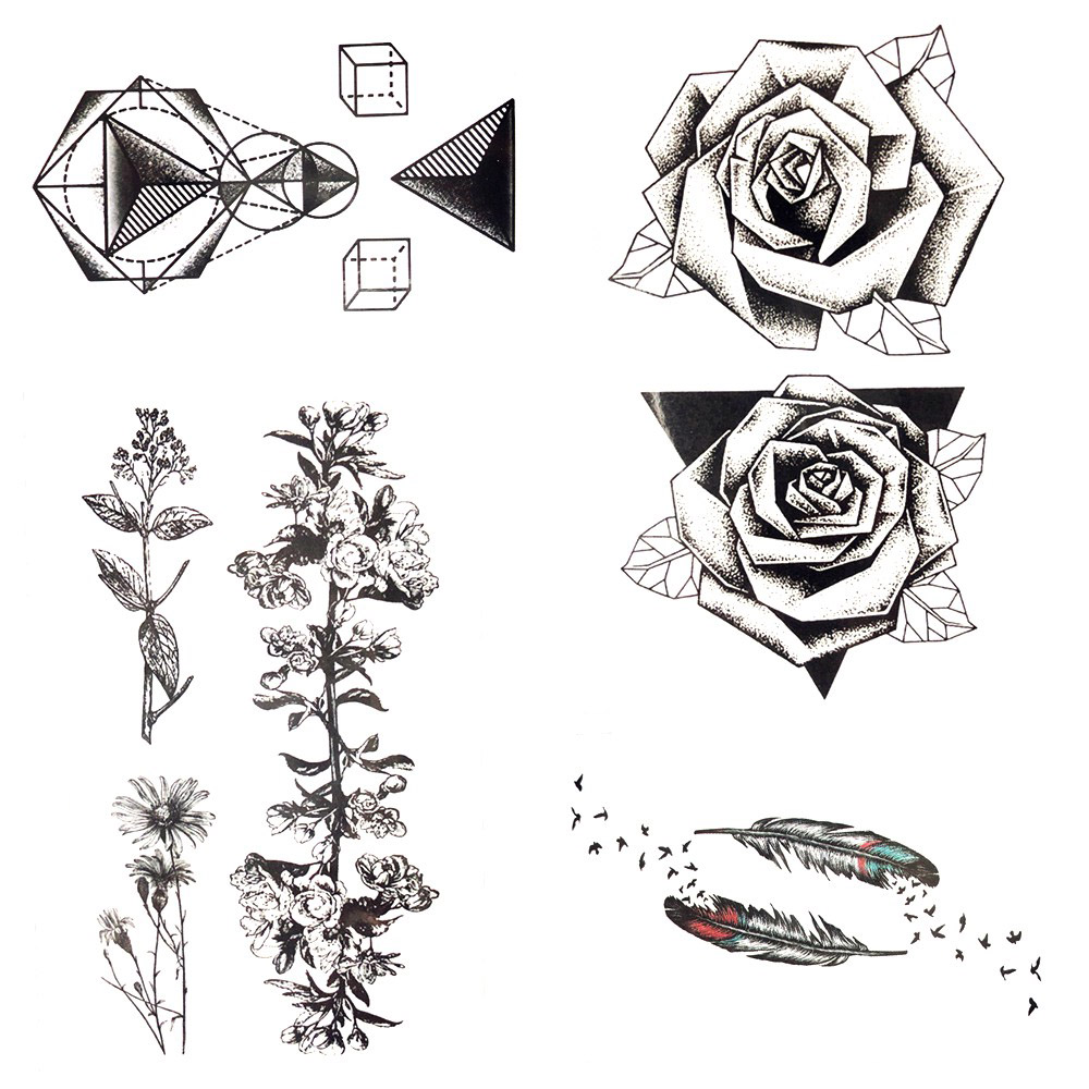 Long Lasting Triangle Black Rose Temporary Tattoo Flower Leaves