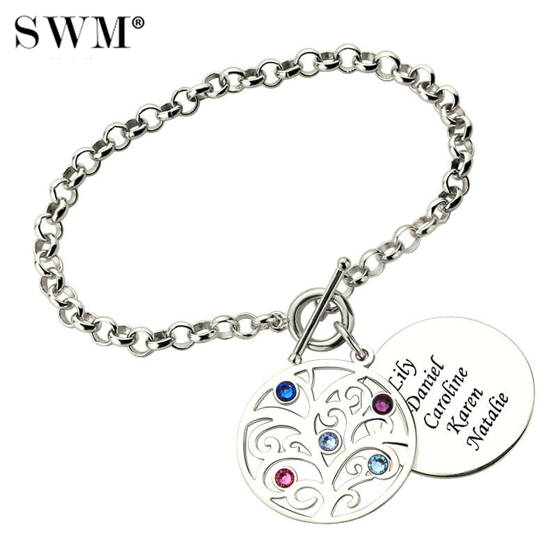 Costume Name Bracelets for Women Family Tree of Life Bracelet with Letter Engraving Birthstones Silver 925 Jewelery Gift for Mom stylish rhinestone engraving mom heart bracelet for women