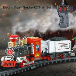 Classic Electric Dynamic Steam RC Track Train Set Simulation Model Toy For Children Rechargeable Children Remote Control Toy Set