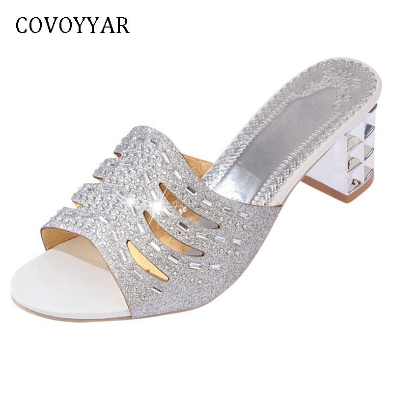 COVOYYAR Bling Women Slippers Mules 2019 Summer Rhinestone Slingback Women  Sandals Peep Toe High Heels Sliver Gloden WSL623-in Slippers from Shoes on  ... 7a5c3698a61b