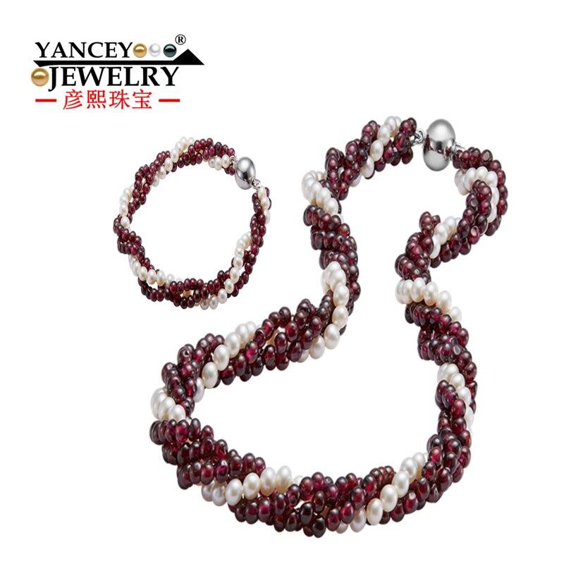 2019 nouveau naturel 4-5mm blanc collier de perles d'eau douce et bracelet ensembles de bijoux, avec grenat naturel multicouche S925 argent