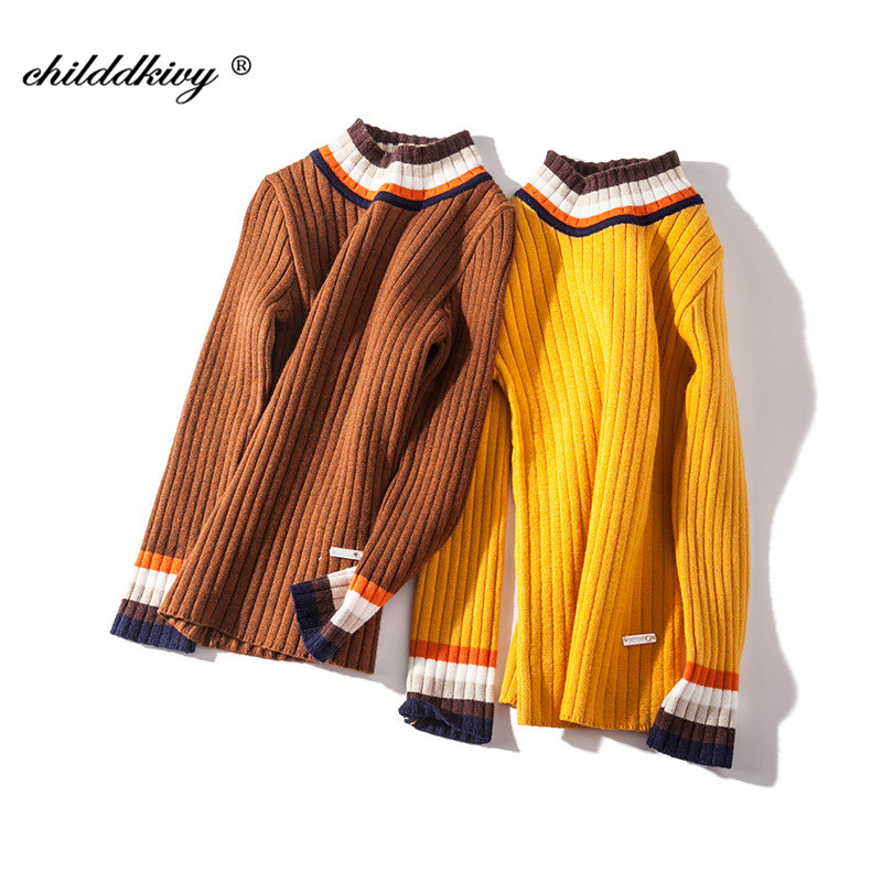 High Quality Girls Sweaters 2018 Autumn New Knitted Baby Girls Ribbed Sweater Kids Clothing Teenage Girls Pullover tops 4-14Year crew neck ribbed knitted heather sweater