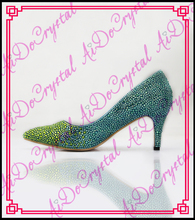 Aidocrystal latest young fashion lady high heel dress shoes gradient colors pointed toe shoes