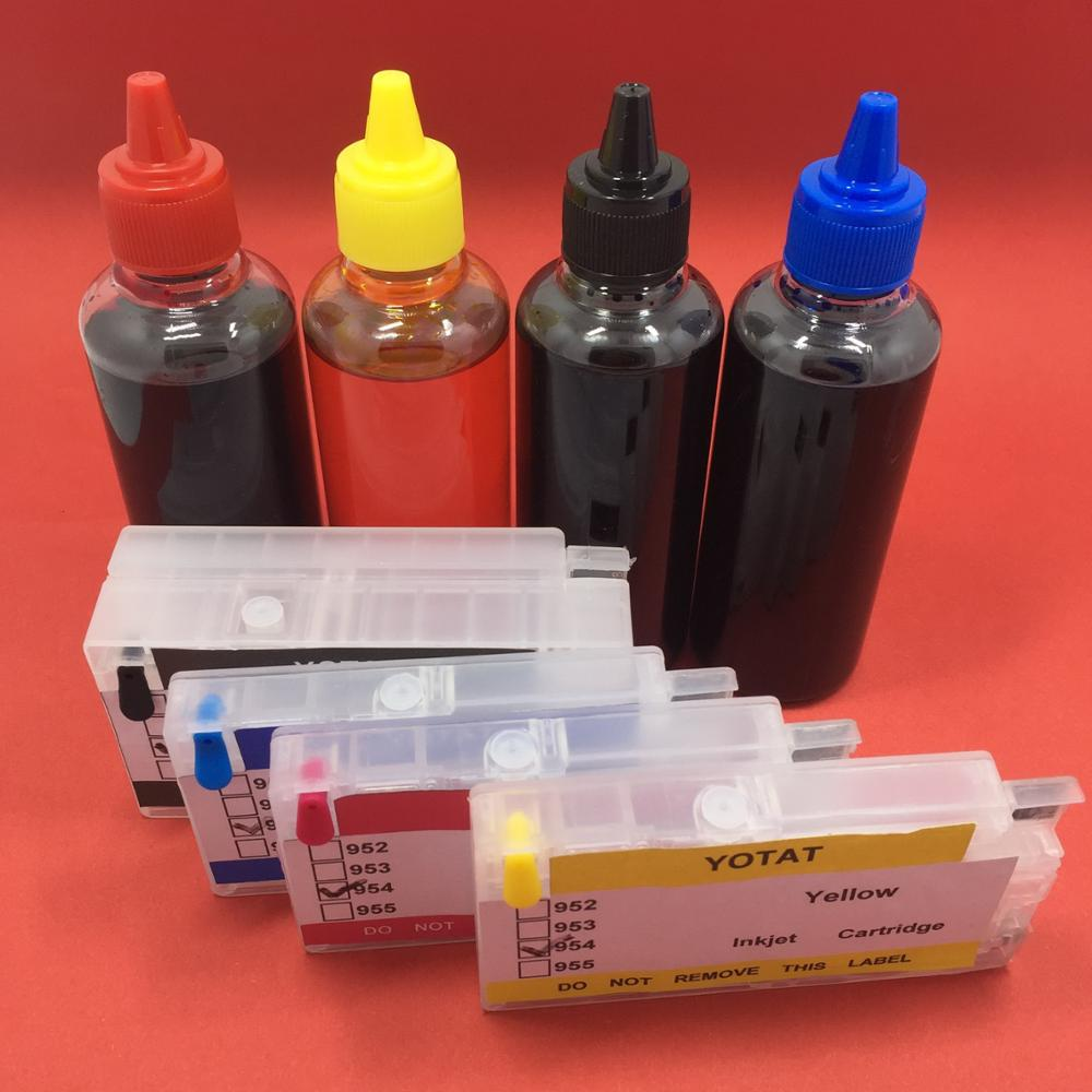 цена на YOTAT (One time chip) 400ml Dye ink for HP 954 HP954XL Ink Cartridge for OfficeJet Pro 8702 7720 7730 7740 8210 8218 8710 8720