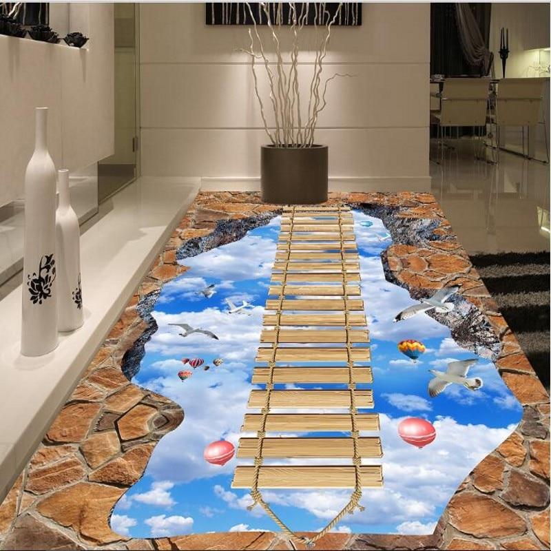 Купить с кэшбэком wellyu Custom large fresco walkway exhibition hall on the sky wooden bridge 3D floor thickened wear pvc plastic film