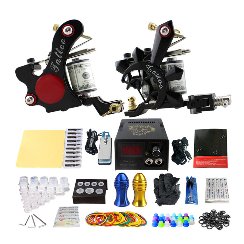 Complete Tattoo Machine Kit Professional 2Pcs Liner Shader Coil Tattoo Machine Guns Power Supply Needles Grips Tips For Body Art p80 panasonic super high cost complete air cutter torches torch head body straigh machine arc starting 12foot