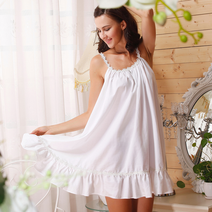 76c4b2b8be Full cotton 100% spaghetti strap white Sexy flower short nightgown female  plus Large size sleepwear Sexy Women s Home Clothes-in Nightgowns    Sleepshirts ...