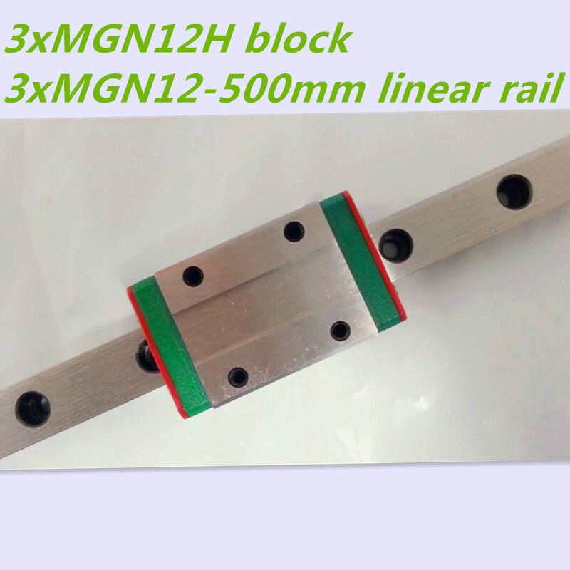 Kossel Mini MGN12 12mm miniature linear rail slide = 3pcs 12mm L-500mm rail+3pcs MGN12H carriage for X Y Z axis 3d printer parts