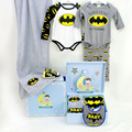 2017New Hot Sales 6Pieces Batman Baby Romper Shoes Hat Sets Play-boy Gift Fashion Newborn Infant Birthday Gift 100% Cotton