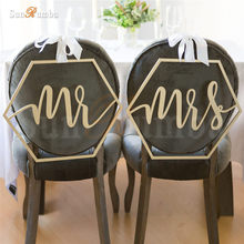 2pcs/set Mr & Mrs Rustic Wedding Sign Decor Ideas Chairs Hanging Signs Mariage Party Decorations Wood Decoration Props