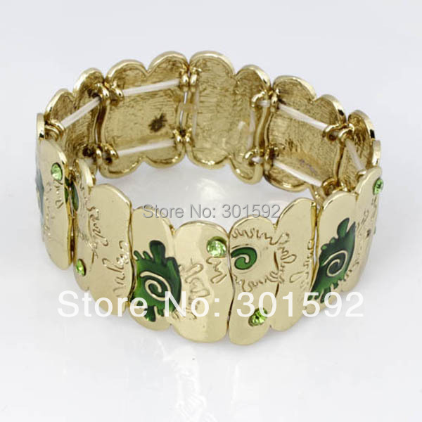 Top Quality Square Enamel Alloy Rhinestones bangles Elastic Bangle Gold Plated Fashion j ...