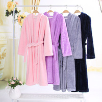 Hooded Flannel Robes for Women and Men Thick Flannel Dressing Gowns Couple Winter Robes Warm Home Clothes