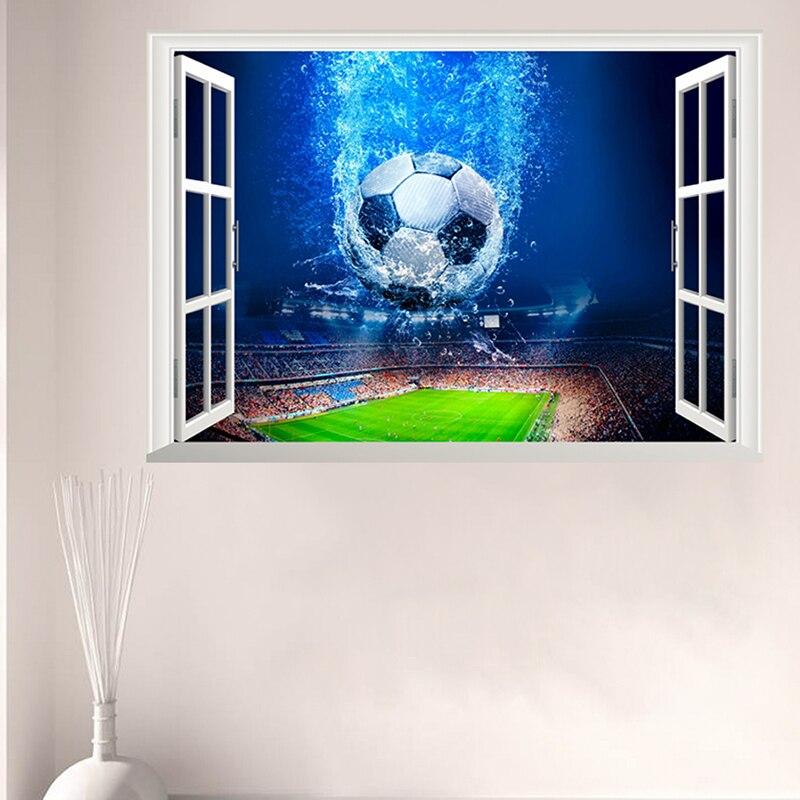 3D Venster Voetbal Voetbal Muurstickers Voor Kinderen Kamers Woonkamer Muurstickers Gym Jongens Kamer PVC Thuis Muurschildering art Decoraties 1