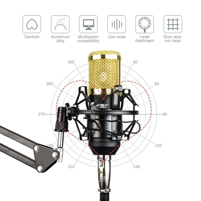 Micrófono condensador profesional para ordenador Audio estudio grabación