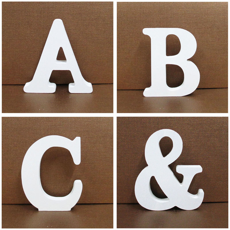 1pc 8X8CM White Wooden Letters Alphabet Word Personalised Name Design Art Craft Free Standing Wedding Heart Home Decor English