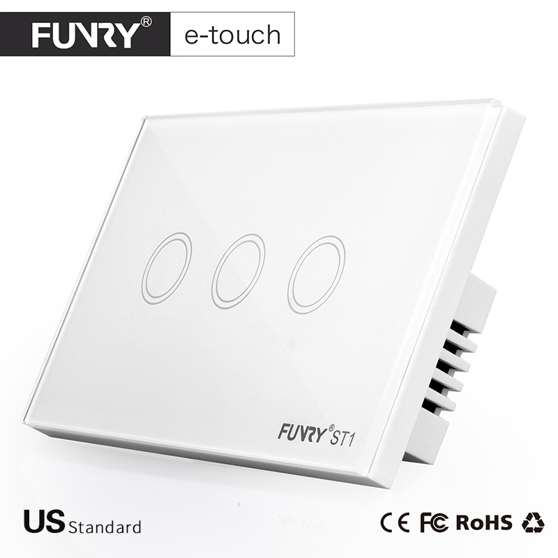 FUNRY ST1-US Standard 3Gang 1Way 3 Color Touch Switch Smart Home Wall Switch with Glass Panel for Home Automation Free Shipping funry st2 us remote control wall switch 2 gang 1 way glass panel smart touch switch for smart home free shipping