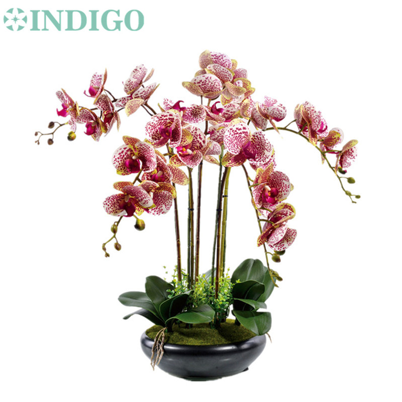 INDIGO- Purple Spot Flower Arrangement Orchids med blade Real Touch Wedding Party Falsk Flower Dekorativ Event Gratis forsendelse