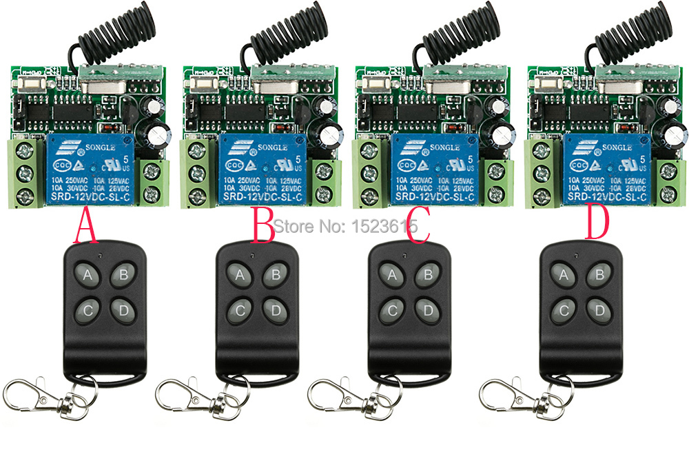 Hot Sales New DC12V 10A 1 ch RF wireless remote control switch System  teleswitch 4 receiver +4 transmitter With 4 buttons hot sales dc 12v 1ch 10a 4 receiver