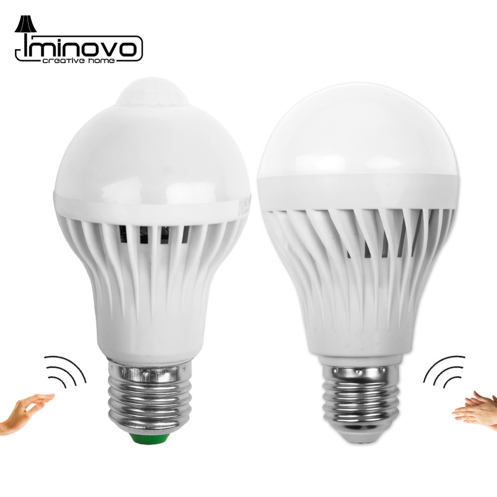 Led Bulb Motion Sensor Smart PIR Lamp E14 E27 Auto Sound Light Radar Infrared Body Lamp 3W 5W 7W 9W 12W 110V 220V Home Decor rgb led lamp bulb light with magic contoller e27 base 3w 7w smd5050 chip 110v 220v home decor changeable color uw