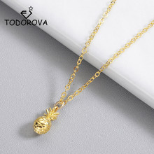 Todorova Trendy Sweet Pineapple Pendant Necklaces for Women Summer Fruit Jewerly Charming Girls Statement Short