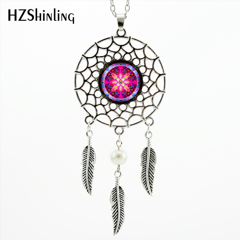 2017 Estilo de moda Indian Dream Catcher Necklace Mandala Glass Colgante Dreamcatcher Feather Necklace NDC-002