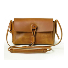 2016 New Style Vintage Solid Single Interior Slot Pocket Flap Ms Bag Shoulder Retro Buttons Cow Leather Purse Inclined Handbag