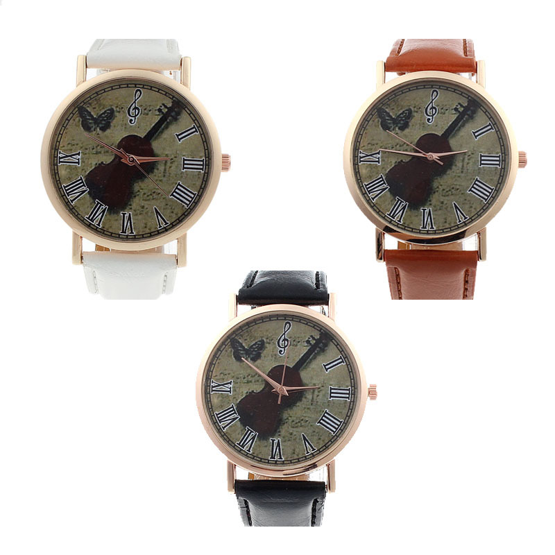 New Fashion Unisex Geneva Violin Pattern Faux Leather Band Analog Quartz Dial Watch In CLAUDIA Dropship Reloj Mujer hot sale claudia hot sale creative fashion watches men casual faux leather analog big dial sport style wrist quartz watch dropship