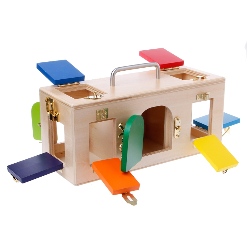 Montessori Colorful Lock Box Kids Children Educational Preschool Training Toys