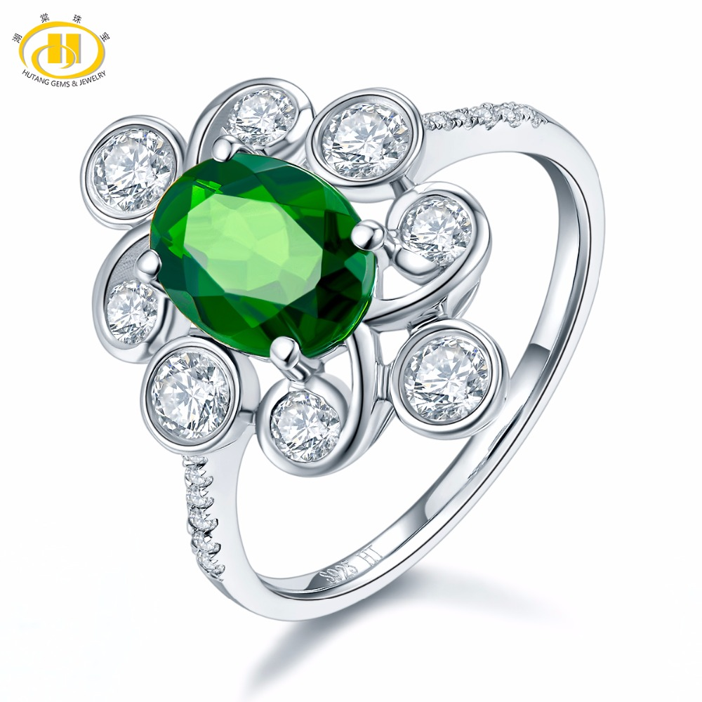 Hutang Solid 925 Sterling Silver 1.30 ct Natural Gemstone Chrome Diopside Flower Ring Fine Jewelry Presents Gift For Women NEW hutang natural gemstone chrome diopside 925 sterling silver flower ring for women new fine jewelry presents gift 2018