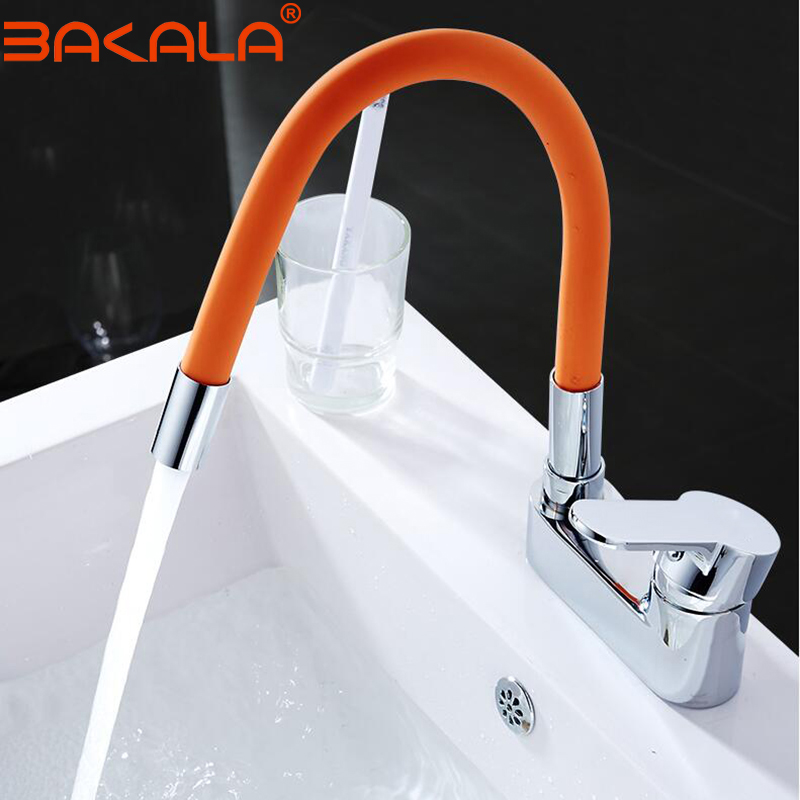 Silica Gel Nose Any Direction Rotating Bathroom Faucet Cold and Hot Water Mixer Torneira Cozinha Single