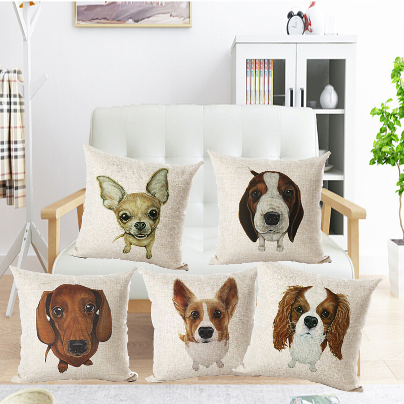 Fashion Nordic Houseware Home Decor Cojines French Buldog Printed Sofa Pillow Throw Linen Cotton Pillow Cushion Almofadas