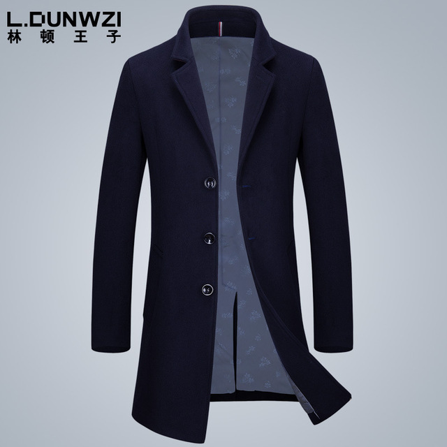 2016 men's clothing high quality slim middle long single breasted woolen coat uk business jacket fashion brand pea coats as gift