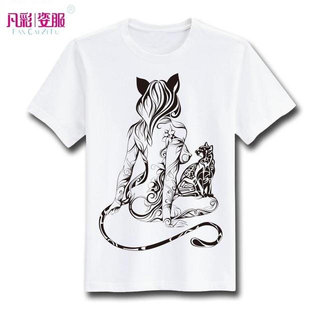 Sexy Tira Cauda De Gato Menina T Shirt Design Inspirado Por Moda Tatuagem T  Shirt
