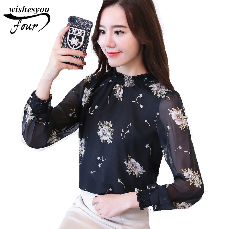 2017 new arrived office lady long sleeve blouses autumn sweet college shirt female floral print chiffon 800H 30