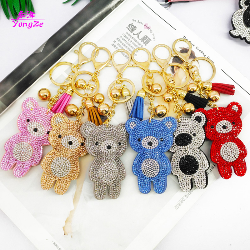 6pcs/set Cute Key Chains Cartoon Bears Rhinestone Keychains Bags Wallet Pendants Decoration Jewelry Ornaments Phone Accessories