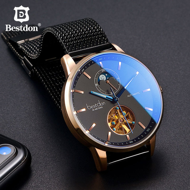Bestdon Luxury Mechanical Watch Men Automatic Skeleton Wristwatch Curved Mirror Waterproof Watches Switzerland Brand Fashion New