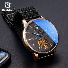 Bestdon Luxury Mechanical Watch Men Automatic Skeleton Wristwatch Curved Mirror Waterproof Watches Switzerland Brand Fashion New все цены