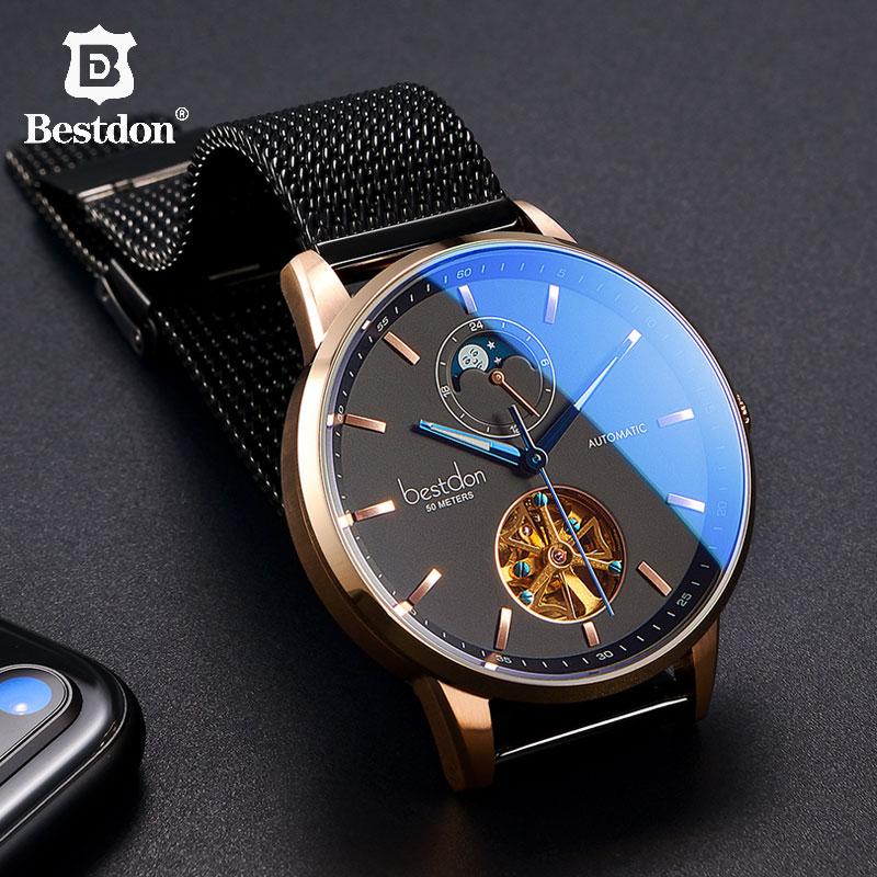 Bestdon montre mécanique de luxe hommes automatique squelette montre-bracelet courbe miroir étanche montres suisse marque de mode nouveau