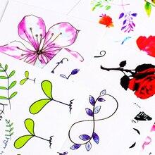 24 дизайна, цветок, водостойкая временная татуировка, наклейка в виде листьев лотоса, для девушек, лавандовые тату, наклейки, флэш-тату, поддельные татуировки для женщин