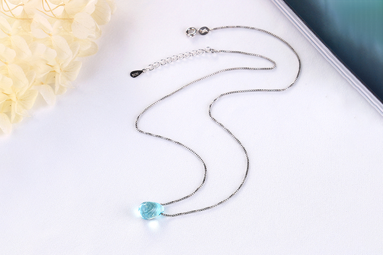 Anenjery Literary Artificial Blue Crystal Water Drop Necklace 925 Sterling Silver Clavicle Chain Necklace For Women Girl S-N292 13