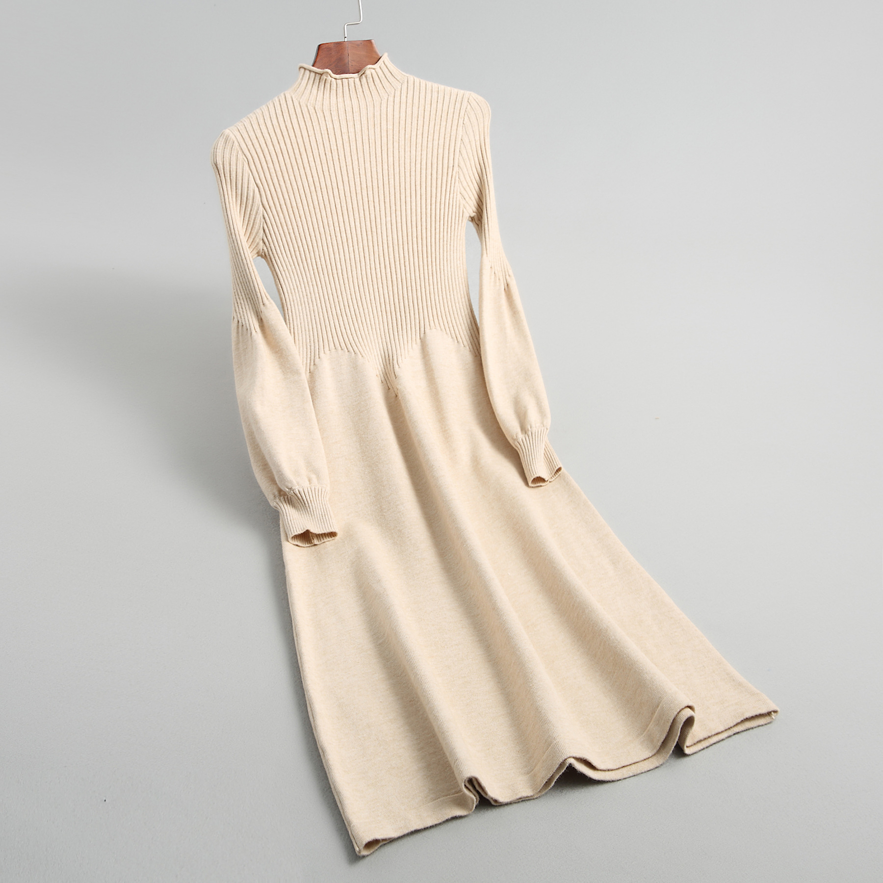 INNASOFAN dress Women s autumn winter knitted dress high waist Euro American fashionable dress with long