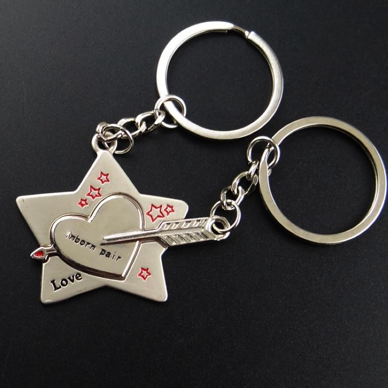 2017 Hot Couple Keychain Trinket Love Heart Key Chains Lock Keyring Women Bag Jewelry Wedding Female Valentine Day Gift